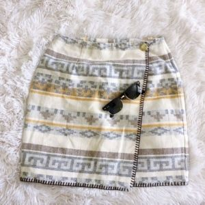 TRACY EVANS grey+yellow tribal a-line mini skirt